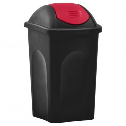 stradeXL Trash Bin with Swing Lid 60L Black and Red