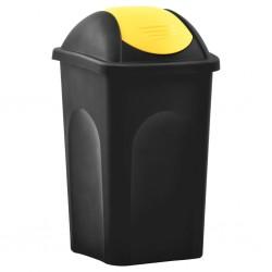 stradeXL Trash Bin with Swing Lid 60L Black and Yellow