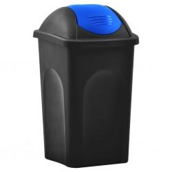stradeXL Kosz na śmieci z uchylną klapą, 60 L, czarno-niebieski