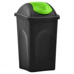 stradeXL Kosz na śmieci z uchylną klapą, 60 L, czarno-zielony