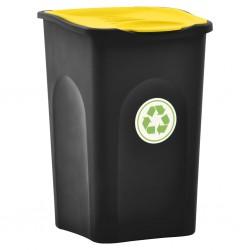 stradeXL Kosz na śmieci z pokrywą na zawiasie, 50 L, czarno-żółty