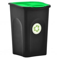 stradeXL Kosz na śmieci z pokrywą na zawiasie, 50 L, czarno-zielony
