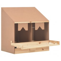 stradeXL Chicken Laying Nest 2 Compartments 63x40x65 cm Solid Pine Wood