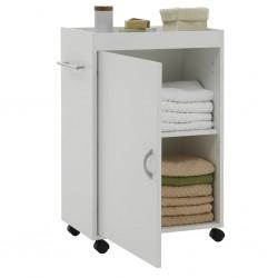 FMD Szafka łazienkowa na skrętnych kółkach, biała