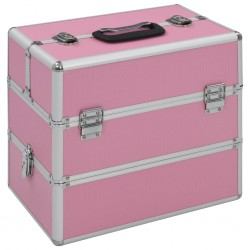 stradeXL Kuferek na kosmetyki, 37 x 24 x 35 cm, różowy, aluminiowy
