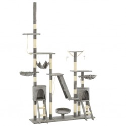 stradeXL Drapak dla kota z sizalowymi słupkami, 230-250 cm, szary