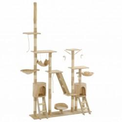 stradeXL Drapak dla kota z sizalowymi słupkami, 230-250 cm, beżowy