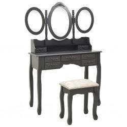 stradeXL Toaletka z taboretem i składanym, 3 częściowym lustrem, szara