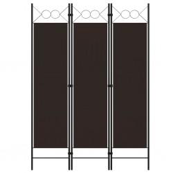 stradeXL Parawan 3-panelowy, brązowy, 120 x 180 cm