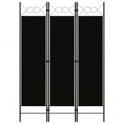 stradeXL Parawan 3-panelowy, czarny, 120 x 180 cm