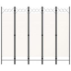 stradeXL Parawan 5-panelowy, kremowy, 200 x 180 cm