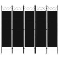 stradeXL Parawan 5-panelowy, czarny, 200 x 180 cm