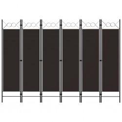 stradeXL Parawan 6-panelowy, brązowy, 240 x 180 cm