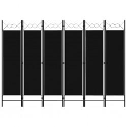 stradeXL Parawan 6-panelowy, czarny, 240 x 180 cm
