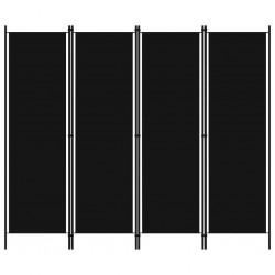 stradeXL Parawan 4-panelowy, czarny, 200 x 180 cm