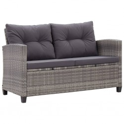 stradeXL 2-osobowa sofa ogrodowa z poduszkami, szara, 124 cm, rattan PE