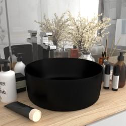 stradeXL Luksusowa, okrągła umywalka, matowa czerń, 40x15 cm, ceramiczna