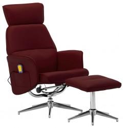 stradeXL Rozkładany fotel masujący z podnóżkiem, czerwone wino, ekoskóra