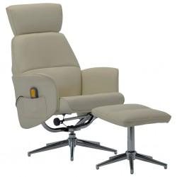 stradeXL Rozkładany fotel masujący z podnóżkiem, cappuccino, ekoskóra