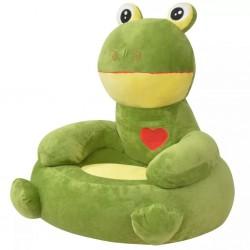 stradeXL Fotel dla dzieci żaba, pluszowy, zielony