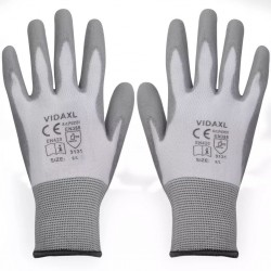 stradeXL Work Gloves PU 24 Pairs White and Grey Size 9/L