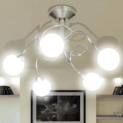 Nowoczesna lampa sufitowa 5 okrągłych kloszy żarówki G9
