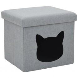 stradeXL Składane legowisko dla kota, sztuczny len, 37x33x33 cm, szare
