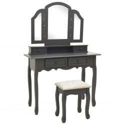 stradeXL Toaletka ze stołkiem, szara, 100x40x146 cm, drewno paulowni