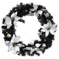 stradeXL Christmas Wreath with LED Lights Black 60 cm PVC