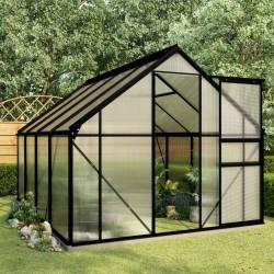 stradeXL Greenhouse with Base Frame Anthracite Aluminium 4.75 m²