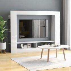 stradeXL Szafka TV, wysoki połysk, biała, 152x22x113 cm, płyta wiórowa