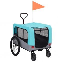 stradeXL Przyczepka rowerowa 2-w-1 dla zwierząt i do biegania, niebiesk-szara