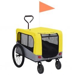 stradeXL Przyczepka rowerowa 2-w-1, dla zwierząt i do biegania, żółty-szary