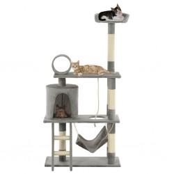 stradeXL Drapak dla kota ze słupkami sizalowymi, 140 cm, szary