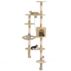 stradeXL Naścienny drapak dla kota z sizalowymi słupkami, 194 cm, beżowy