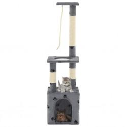 stradeXL Drapak dla kota ze słupkami sizalowymi, 109 cm, szary w łapki