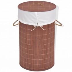 stradeXL Bamboo Laundry Bin Round Brown