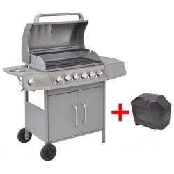 stradeXL Grill gazowy ze strefą gotowania 6+1, kolor srebrny