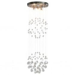 stradeXL Lampa sufitowa z kryształkami i koralikami, srebrna, kula, 3xG9