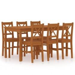 stradeXL 7-częściowy zestaw mebli do jadalni, drewno sosny, miodowy brąz