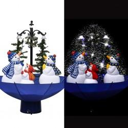 stradeXL Choinka sypiąca śniegiem, niebieska podstawa parasolowa, 75 cm