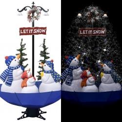 stradeXL Choinka sypiąca śniegiem, niebieska podstawa parasolowa,170 cm