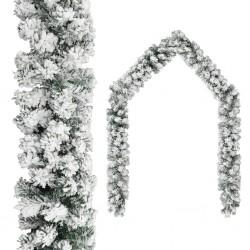 stradeXL Christmas Garland with Flocked Snow Green 20 m PVC
