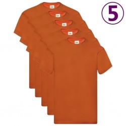 Fruit of the Loom Oryginalne T-shirty, 5 szt, pomarańczowe, L, bawełna