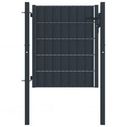 stradeXL Furtka ogrodzeniowa, PVC i stal, 100 x 101 cm, antracytowa