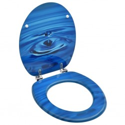 stradeXL Deska klozetowa, MDF, niebieski motyw z kroplą wody