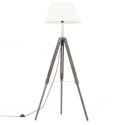 stradeXL Lampa podłogowa na trójnogu, szaro-biała, drewno tekowe, 141 cm