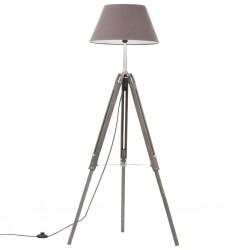 stradeXL Lampa podłogowa na trójnogu, szara, drewno tekowe, 141 cm