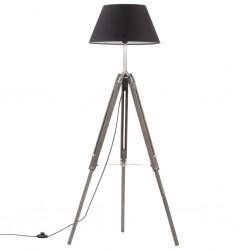 stradeXL Lampa podłogowa na trójnogu, czarna, drewno tekowe, 141 cm