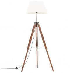 stradeXL Lampa podłogowa na trójnogu, brązowo-biała, tek, 141 cm